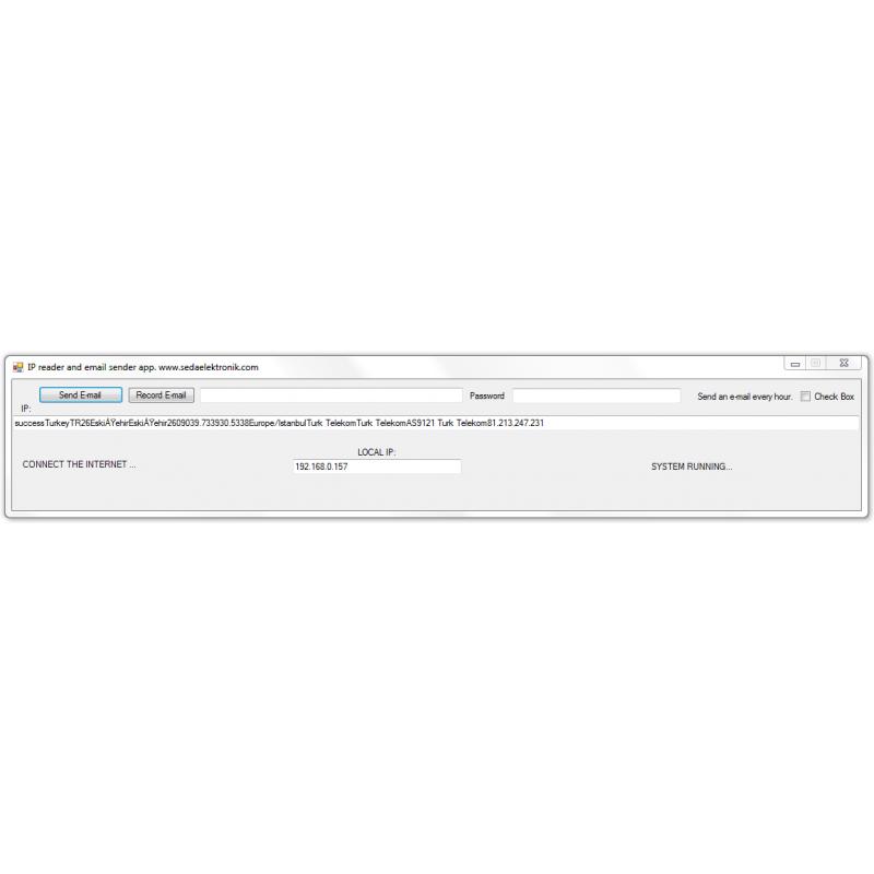 IP reader and mail sender application